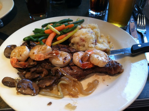 steak and shrimp at big river grille